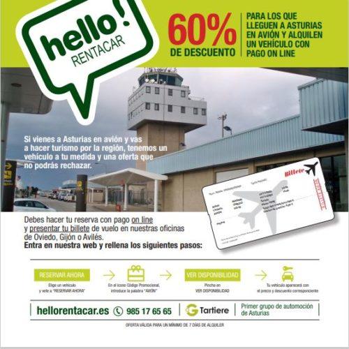 10% adicional al alquilar un vehículo en el Aeropuerto de Asturias