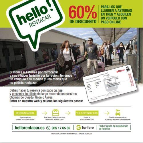 Descuento llegada en tren a Asturias.